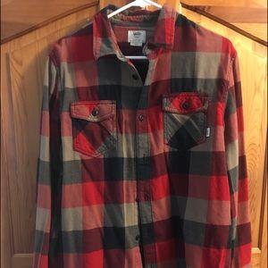 Vans men's red gray flannel shirt size large